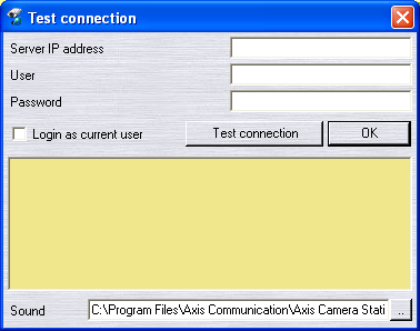 4. Click your way through the Installation Wizard. When you are finished, open AXIS Camera Station Client from Start Program Files or click the program icon on the desktop: 5. Click File Connection.