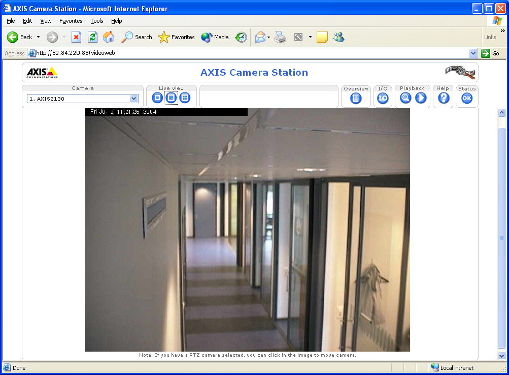 AXIS Camera Station Web application A web browser can be used on client workstations to view cameras and perform simple operations, such as review or playback recordings.