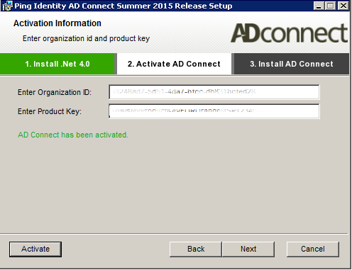Enter your activation product and the product key and then click on [Activate]. Once AD Connect has been activated, click on [Next].