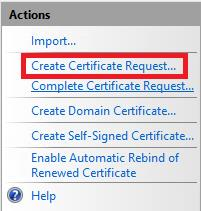 On the IIS section click on the Server certificates icon: On the actions menu on the right-hand side, click on [Create Certificate Request ] Complete the field with your information.