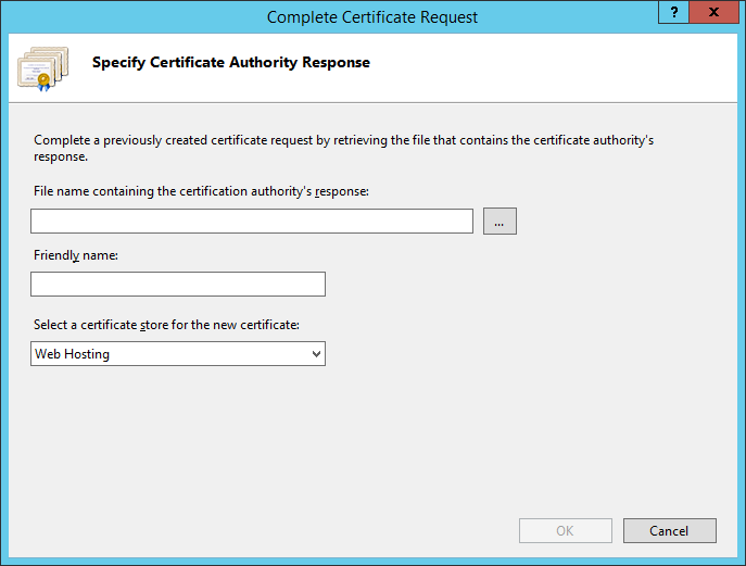 In the actions menu on the right-hand side, click on [Complete Certificate Request ] Select the file containing the certificate provided by your certification authority.