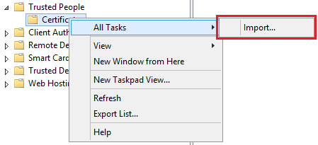 Right-click on Certificates and select All Tasks, Import. The Certificate Import Wizard is displayed.