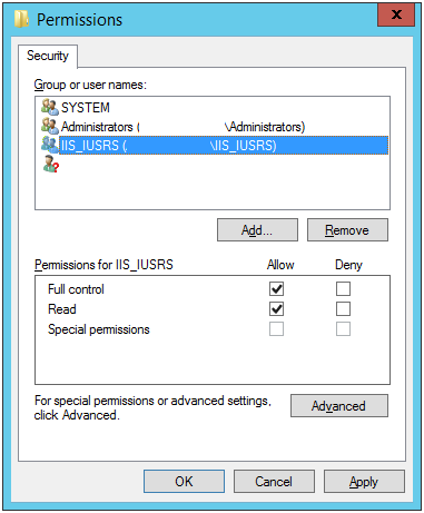 Click on [OK]. Grant Full Control and Read permissions to IIS_IUSRS. The IIS host now has the necessary permissions to use the imported signing certificate. The AD Connect Web.
