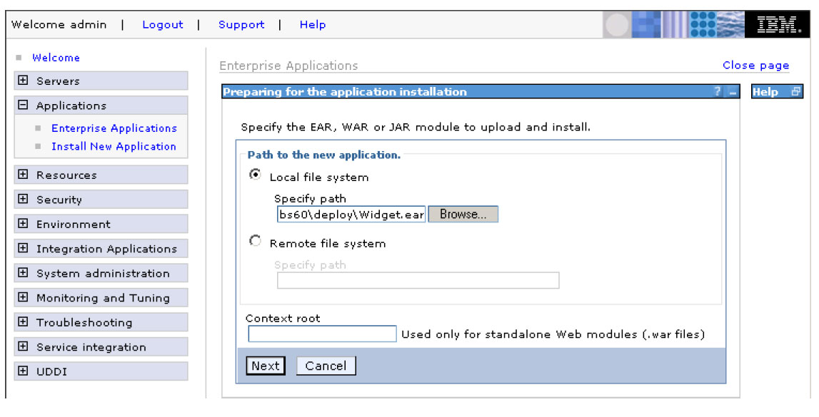 Deploying business applications and mediation services For business modules and mediation modules exported as EAR files 1. Open the WebSphere Administrative console. 2.