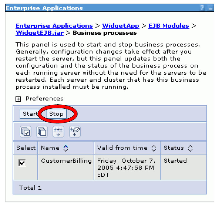 Uninstall business processes and human tasks (1 of 3) 1. Stop all process and task templates in the application. a. From the WebSphere Administrative console, select Applications > Enterprise Applications b.