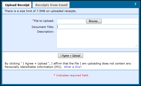 5.3.2 Upload a Receipt to the Report All the receipts pertaining to one expense report can be compiled, and attached as one document to the report.
