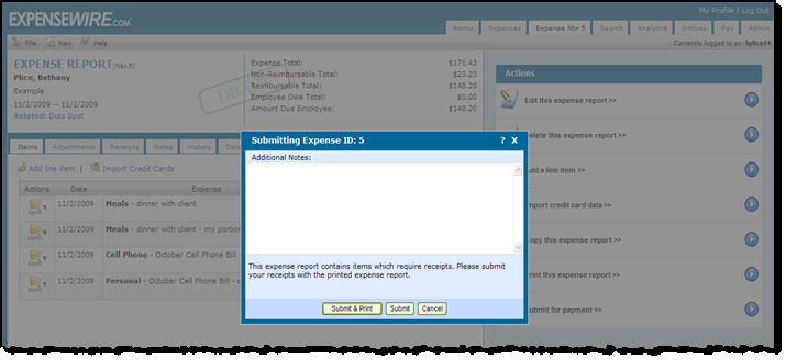 6 Submitting an Expense Report Once the expense report is complete, click the Submit for Payment button on the Actions menu.