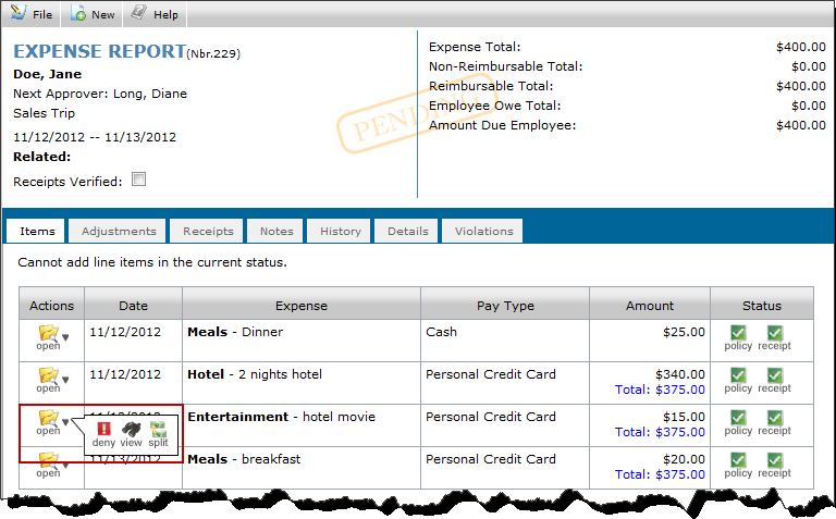 Once returned to the expense report, select Approve for Payment to approve the remaining items on the report. 7.2.
