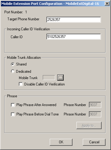Alti-Mobile Extensions Properties button to invoke the Mobile Extension Port Configuration dialog box. 21. Mobile Extensions Figure 7.