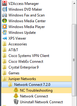 Un-installing the Network Connect Client Juniper Networks Network Connect software may be un-installed at any time. From the Start menu: 1.