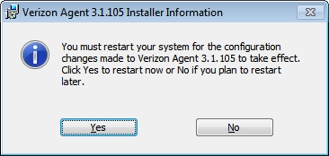 Click Finish and the manual Verizon Agent installation is
