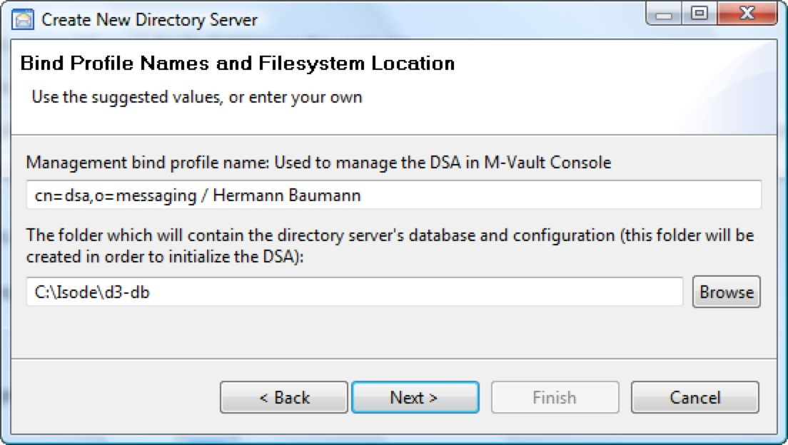 Click on [Yes] and accept the defaults in the DIT Structure Configuration screen (below), the Password configuration screen (making sure to take a note of the password or change it to one of your