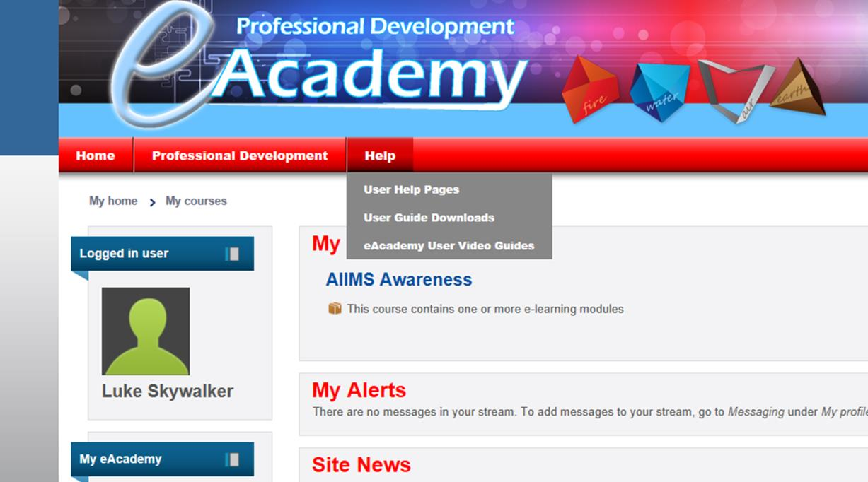 FOR FURTHER INFORMATION on how to use and access information on the eacademy click on Help and select from the