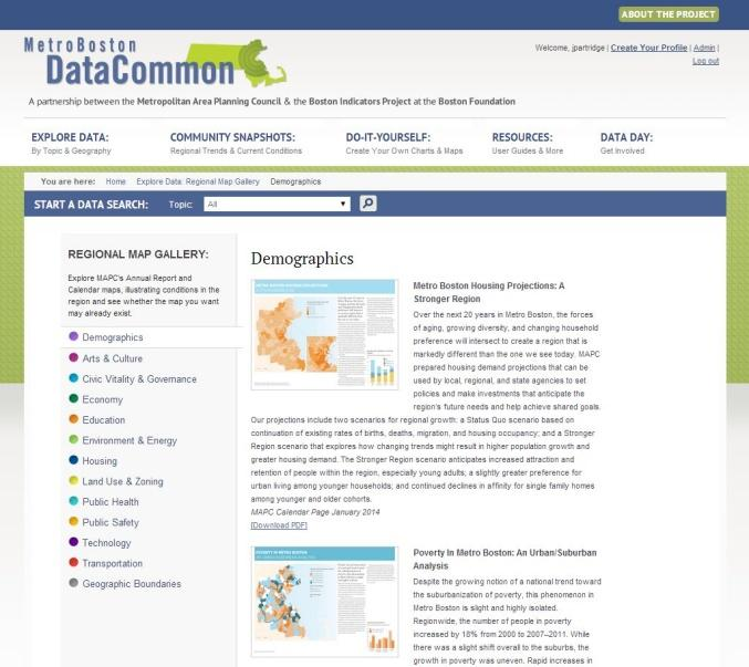 MetroBoston DataCommon Training Whether you are a data novice or an expert researcher, the MetroBoston DataCommon can help you get the information you need to learn more about your community,