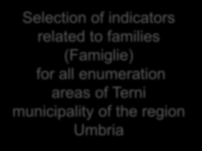 Example 2: SPARQL results queried by Gistat Selection of indicators related to families (Famiglie) for all