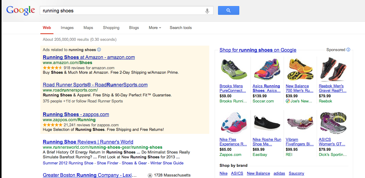 } Google Shopping Results The easiest way for you to see Google Shopping in action is to head over to Google.com and do a web search for something like Spalding Basketballs.