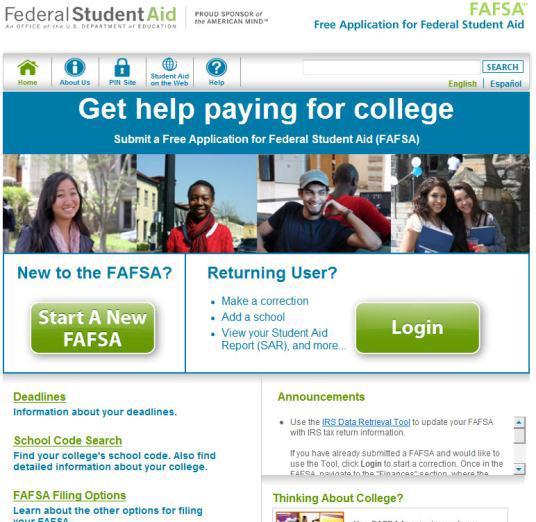 Free Application for Federal Student Aid (FAFSA) What is the FAFSA? It is the first step in the financial aid process. The FAFSA is used to apply for state and federal financial aid programs.
