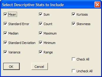 When you select the histogram option (H) on the SPC toolbar, you will get the dialog box shown to the left. Each entry is discussed below.