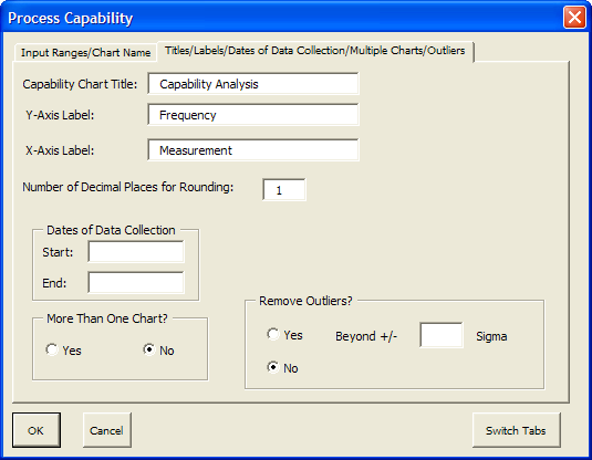 Process Capability Dialog Box Once you select the process capability option, you will get the two page dialog box shown. Each page is discussed below.