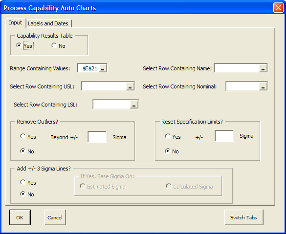 Advanced Process Capability This option is used to automatically generate multiple process capability analysis, to remove outliers, adjust specification limits, and generate a summary process