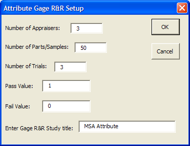 Attribute Gage R&R Set-up Data Entry The attribute gage R&R component will generate the effectiveness table, crosstabulations and kappa scores.