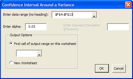 Confidence Interval Around a Variance This option places a confidence interval around the variance (the square of the standard deviation) based on a number of observations (samples).
