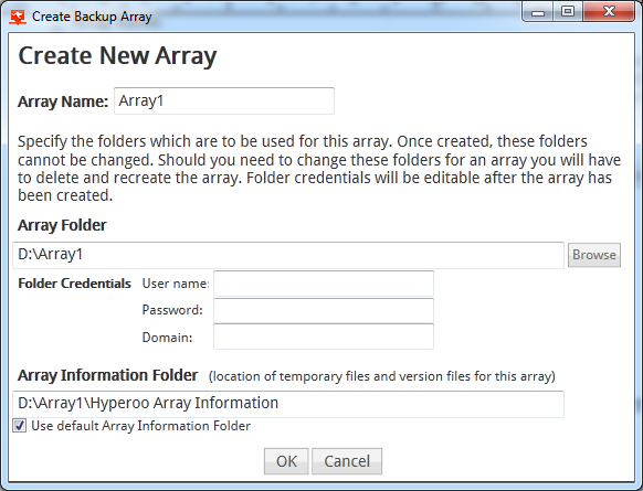 Hyperoo 2.0 backup arrays consist of two separate folders.