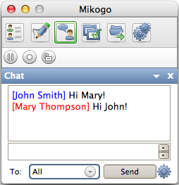 Chat You can send all or selected participants messages through the Mikogo Chat.