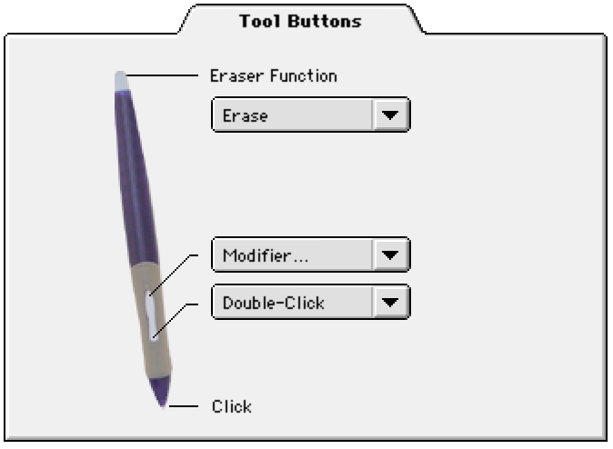 CUSTOMIZING TOOL BUTTONS Select the TOOL BUTTONS tab to change the functions assigned to the eraser, side switch, and tip of your Intuos2 Pen or Airbrush.