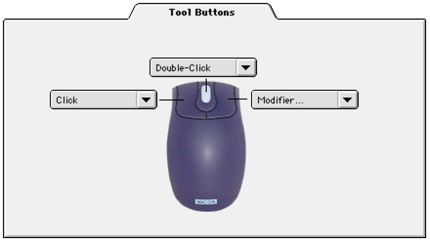 CUSTOMIZING THE 2D MOUSE To modify your 2D Mouse button settings, select the TOOL BUTTONS tab. Select the function to perform when pressing a button.