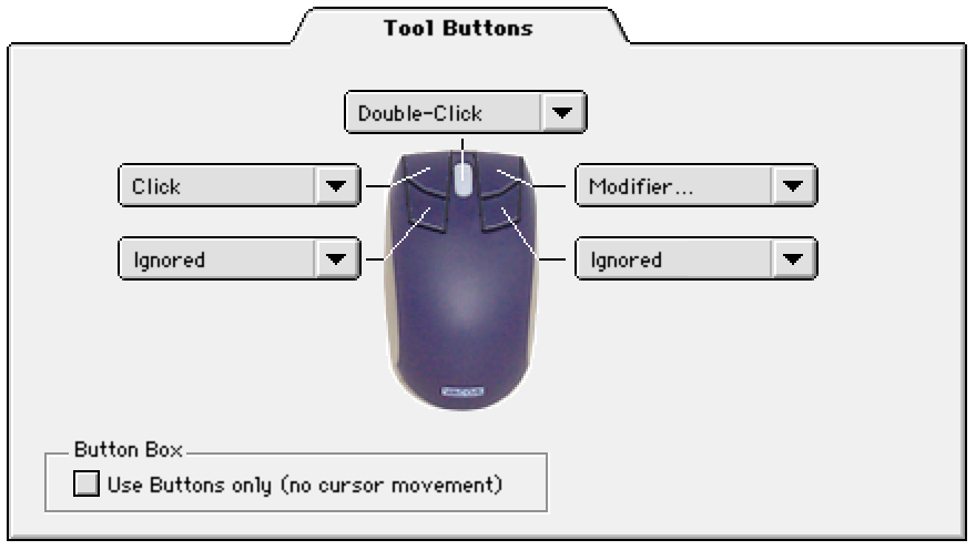 CUSTOMIZING THE 4D MOUSE AND LENS CURSOR To modify your 4D Mouse and Lens Cursor button settings, select the TOOL BUTTONS tab.