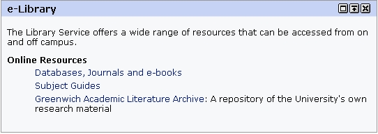 Online Resources (Databases & Journals) In the E-library channel of the Library & Computing tab, open the Databases, Journals and e-books option by clicking on the text.