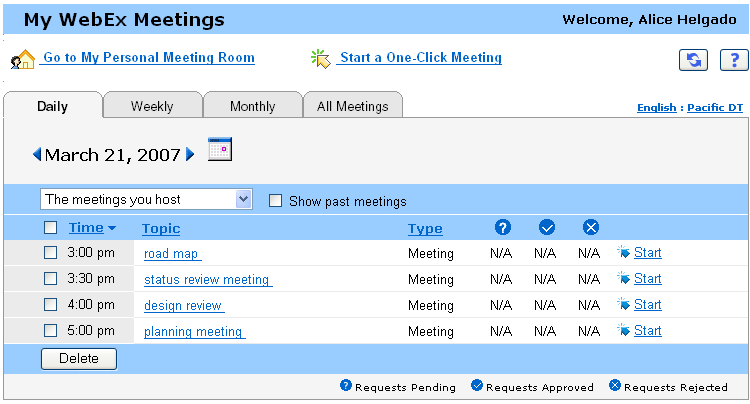 Chapter 22: Using My WebEx Opening your meetings list You can open your personal list of scheduled meetings on your Meeting Center Web site to: Start a meeting Modify a meeting Cancel a meeting You