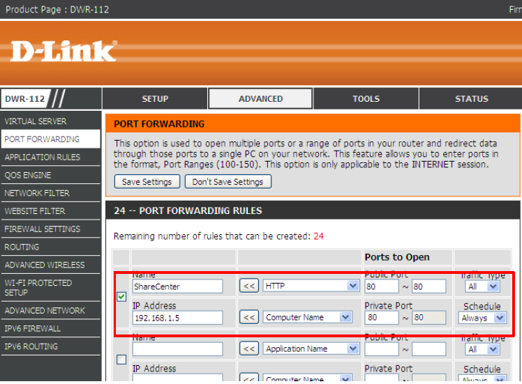 Below is an example from a D-Link ADSL Router DWR-112 setup.