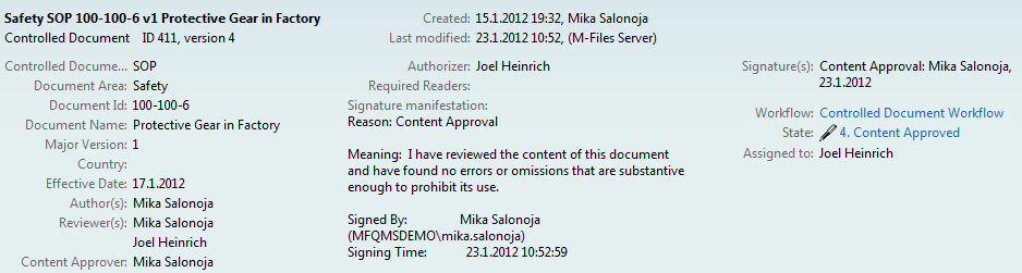 Approved Document in M-Files QMS