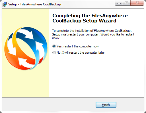When progress is complete, CoolBackup will be ready for use after your computer has been