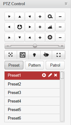 Configuring the Preset Perform the following steps to add a preset: 1. Click the Preset button to enter the PTZ preset configuration panel. 2.