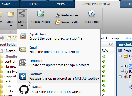 Simulink Sharing Projects Share a project on GitHub via e-mail or as a MATLAB Toolbox Make your project