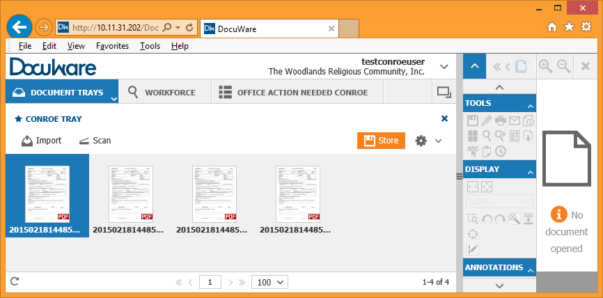 Enter Documents into DocuWare To view documents in DocuWare, simply double click on the thumbnail or record line of the document to open it in the