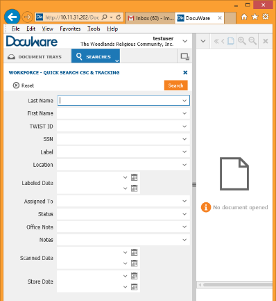 Using DocuWare to Manage Workforce Solutions Files Locate Customer Records Use the Search tab in DocuWare to locate customer records.