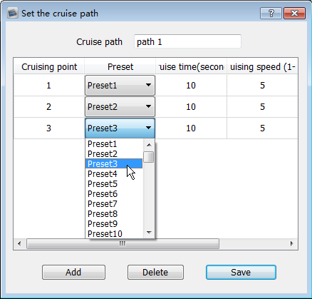 Input the cruise name, click Add, and select the specified preset, then set the cruising time and speed.