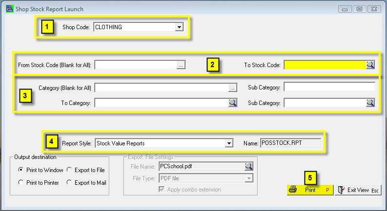 How to print the various Stock Reports Path: Stock Stock Reports Print the report as follows: 1. Select the Shop Code you wish to print a Stock Listing for. 2.