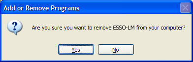 ESSO-LM Installation and Setup Guide Uninstalling ESSO-LM To uninstall ESSO-LM: 1. Click Start, point to Settings, and then click Control Panel. 2. Open Add/Remove Programs. 3.