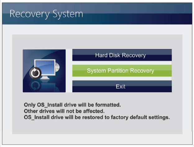 6. Select [Hard Disk Recovery] to restore the hard disk to the manufactory default settings.