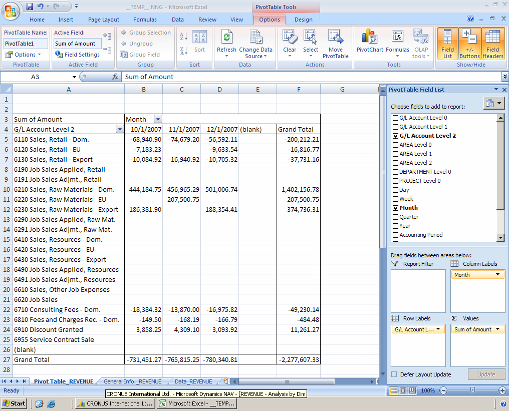 Chapter 6: Analyze Microsoft Dynamics NAV 5.0 Data in Microsoft Excel 11. Click Functions > Export to Excel.