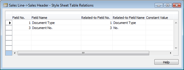 Fields Selected Relationships This field is selected automatically if you have selected any fields to use on the style sheet.