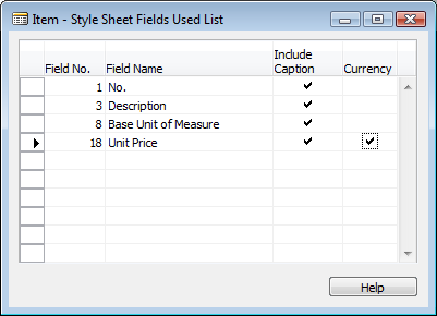 6. In the Table No. field, click the AssistButton and in the Style Sheet Object List window, select the Item table that is associated with Item Card. In this case it is table 27. 7.