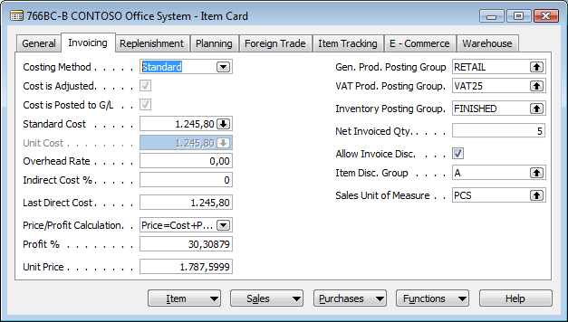 A Word document will be generated based on the Item Card style sheet you have just created, and the data from the Item Card is imported to a Word document which now looks like this: Note Although the