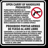 Private Property Private businesses may prohibit concealed carry, open
