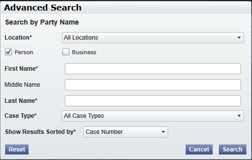 4 Case Search Topics Covered in this Chapter Advanced Search Search for a case by selecting a location, entering a case number or a party name.